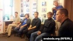Фіналісты конкурсу зьлева направа: Алесь Лапо, Павал Абламскі, Сяргей Громаў, Васіль Герасімчык