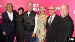 "Mitch Glazer, Zooey Deschanel, Bill Murray, Kate Hudson, director Barry Levinson and Bruce Willis attend the ""Rock The Kasbah"" New York Premiere at AMC Loews Lincoln Square 13 theater in New York on October 19."
