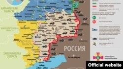Мапа сытуацыі баявых дзеяньняў ва Ўкраіне на Данбасе 11 красавіка