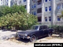 """Старая советская черная """"Волга"""" на одной из улиц Ашхабада. Лето 2014 года"""