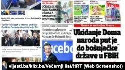 Neki od nedavnih naslova u dnevnim novinama u Bosni i Hercegovini