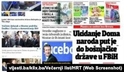 Neki od naslova u dnevnim novinama u Bosni i Hercegovini (2018)