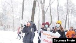 A nőket sújtó erőszak elleni tüntetés Bishkekben 2020. december 12-én
