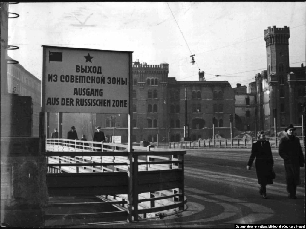 A sign in Russian and German marking the end of the Soviet zone. The center of Vienna was shared collectively by the occupying forces, a bizarre arrangement made famous by a scene in the 1949 film The Third Man, which was written by Graham Greene.