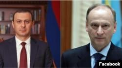 Секретарь Совета национальной безопасности Армении Армен Григорян (слева) и секретарь Совета безопасности Российской Федерации Николай Патрушев