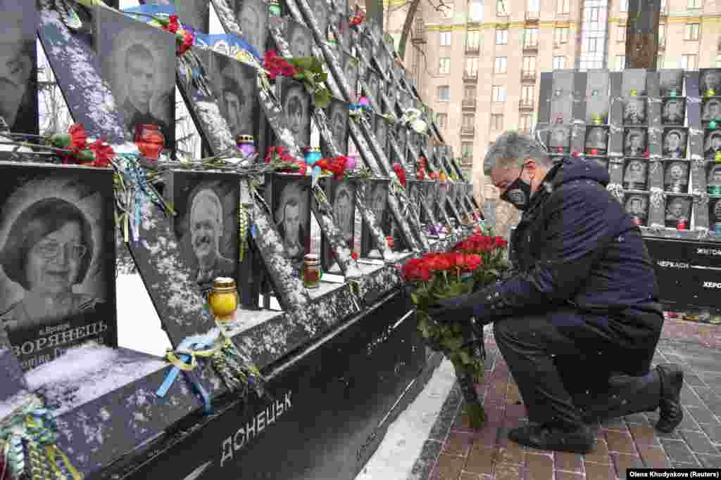 Among those attending commemorations was former Ukrainian President Petro Poroshenko, who came to power in the 2014 elections following Yanukovych's ouster.