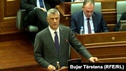 Hashim Thaçi gjatë një paraqitjeje të tij në Kuvendin e Kosovës