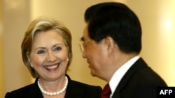 U.S. Secretary of State Hillary Clinton meets with Chinese President Hu Jintao in Beijing