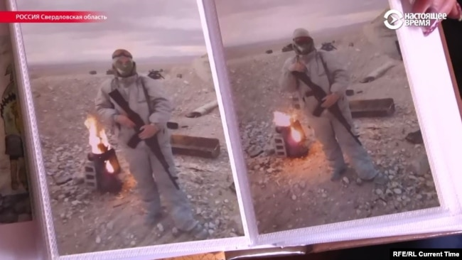 Stanislav Matveyev, said to be a mercenary killed in Syria, in photos shown by his wife