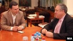 Средба на премиерот Никола Груевски со известувачот на Европарламентот за Македонија Ричард Ховит.