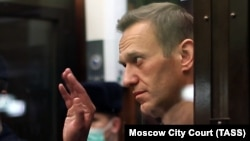Aleksei Navalny gestures during a court hearing in Moscow in February.