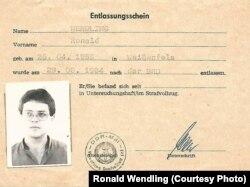 Документ Рональда Вендлінґа про його звільнення з в'язниці