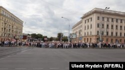 Belarus - A column of workers of the Minsk Tractor Plant moves to the center of Minsk, August 14, 2020