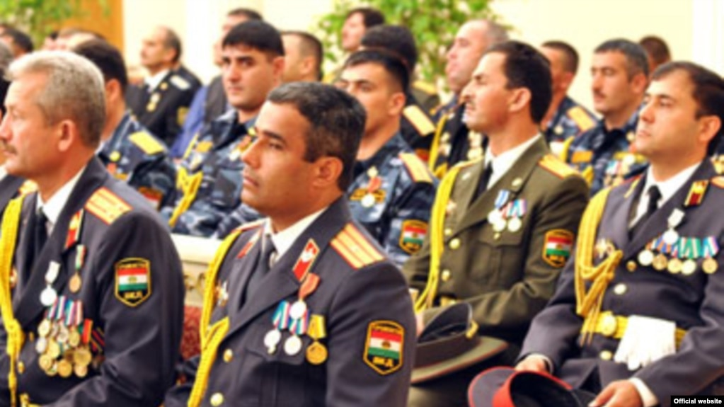 a group of tajik officers attend a ceremony to receive promotions from president emomali rahmon