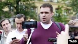 Константин Янкаускас на акции в поддержку незарегистрированных кандидатов в депутаты Мосгордумы, июль 2019 года