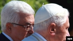 President Mahmud Abbas (left) with Pope Benedict XVI in the West Bank town of Bethlehem on May 13