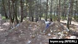 Будівельне сміття в сосновому лісі біля Монастирського шосе в Севастополі