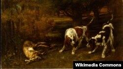 Гюстаў Курбэ, «Паляўнічыя сабакі зь мёртвым зайцам» (1857)