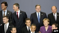 U.S. and European leaders in a snippet from the family picture session after North Atlantic Council meeting in Lisbon that preceded the U.S.-EU mini-summit.