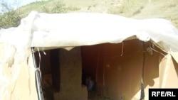 Алматы маңында өзбек еңбек мигранттары паналаған күрке. Қыркүйек, 2008 жыл.