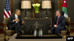 Американскиот претседател Барак Обама и јорданскиот крал Абдула Втори на разговори во Аман на 22 март 2013 година