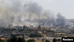 Pamje nga luftimet në Kobani nga ana turke e kufirit