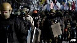 Антыўрадавы пратэст каля Вряхоўнай Рады ў Кіеве 6 лютага