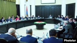 Armenia - Prime Minister Tigran Sarkisian chairs a cabinet meeting in Yerevan.