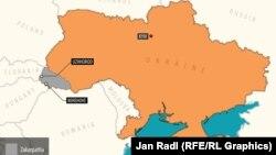 Украина картасындағы қарамен боялған маң - Закарпатье аймағы.