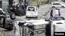 Prevrnuti automobili nakon naleta tajfuna, Osaka