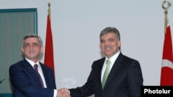 Turkey - Abdullah Gul, President of Turkey, greets his Armenian counterpart Serzh Sarkisian in Bursa, Turkey, 14Oct, 2009