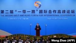 """Қытай басшысы Си Цзиньпин екінші рет өткен """"Бір белдеу — бір жол"""" форумында сөйлеп тұр. 27 сәуір 2019 ж."""