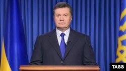 Президент Украины Виктор Янукович во время официального обращения к украинскому народу в связи с ситуацией в стране. Киев, 19 февраля 2014 года.