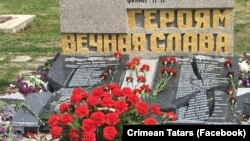 The desecrated monument contained the names of Crimean Tatars who died during World War II.