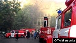 Пожар в центре Одессы, Украина, 30 сентября 2017 год