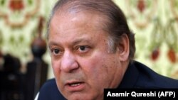 Pakistani ousted prime minister Nawaz Sharif speaks during a press in Islamabad on September 26.