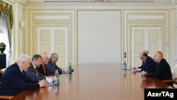 Azerbaijan -- President Ilham Aliyev meets with OSCE Minsk Group co-chairs in Baku, 19Jun2017.
