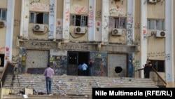 آثار المواجهات مع طلاب من الاخوان حاولوا اقتحام جامعة الازهر