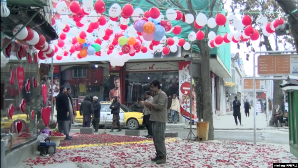 A flower shop in Kabul ready to welcome customers on Valentine's Day.
