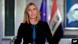 European Union foreign-policy chief Federica Mogherini speaks at a news conference in Baghdad on July 13.