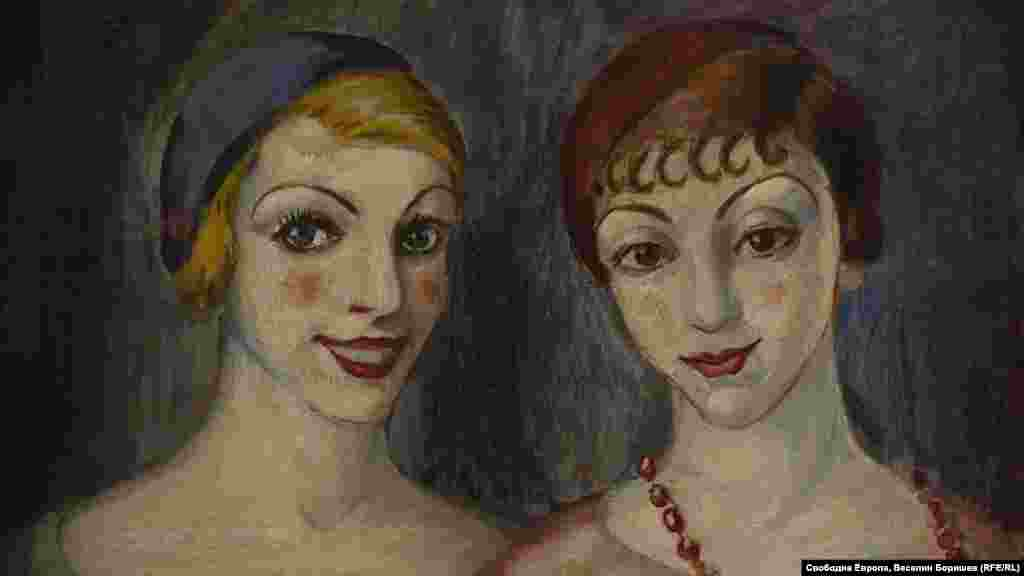 """Асен Василиев, """"Две приятелки"""", 1930 г. Един от малкото примери в българското изкуство по това време, показващо две жени, които се забавляват."""