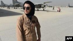 Afghan Air Force Captain Niloofar Rahmani before she sought asylum in the United States.