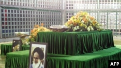 The shrine to the late founder of Iran's Islamic Revolution, Ayatollah Ruhollah Khomeini, in Khomeini's mausoleum in Tehran