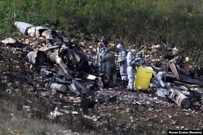 Обломки израильского F-16, сбитого сирийскими ПВО