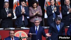 Armenia - President Serzh Sarkisian (C) is formally nominated for reelection during a congress of his Republican Party of Armenia in Yerevan, 15Dec2012.