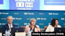 Ресейдің орталық сайлау комиссияның өкілдері сайлауға дайындық барысын баяндап жатыр. 4 қыркүйек 2019 жыл.