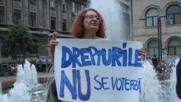 Afiș de la protestul comunității LGBT împotriva votului din Senatul României. București, 11 septembrie 2018