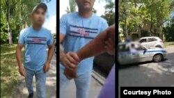 Мужчина, напавший на журналиста интернет-издания Kaktus.media Марата Уралиева, и сотрудники милиции, проехавшие мимо во время перепалки.
