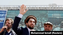 AFGHANISTAN -- Ahmad Masud, son of the slain hero of the anti-Soviet resistance Ahmad Shah Masud, waves as he arrives to attend a new political movement in Bazarak, Panjshir province, September 5, 2019