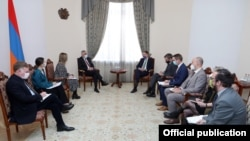 Armenia -- Armenian Deputy Prime Minister Mher Grigorian meets with Toivo Klaar, the European Union's special representative for the South Caucasus, Yerevan, February 23, 2021.